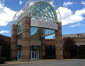 Entrance to WestGate Mall near The Laurel apartments for rent in Spartanburg, SC