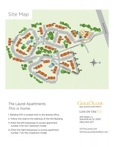 Site map and self guide of The Laurel apartments for rent in Spartanburg, SC
