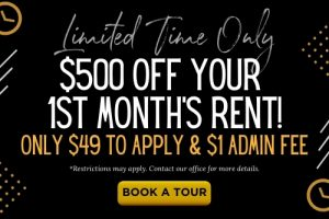 Limited time only special offer of $500 off your 1st month's rent, only $49 to apply & $1 admin fee at The Laurel apartments in Spartanburg, SC