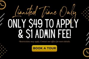 Limited time only special offer of only $49 to apply & $1 admin fee at The Laurel apartments for rent in Spartanburg, SC