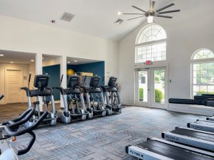 Fitness center with cardio equipment at The Laurel apartments for rent