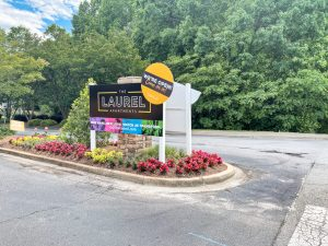 Leasing sign to The Laurel apartments for rent in Spartanburg, SC