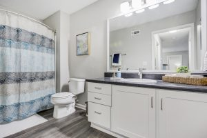 Bathroom with shower/tub combo, toilet, and vanity at The Laurel apartments for rent