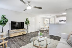 Open-concept living room with ample seating, ceiling fan, and views of dining room and kitchen at The Laurel apartments for rent
