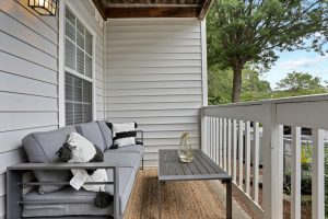 Private balcony/patio with ample seating at The Laurel apartments for rent in Spartanburg, SC